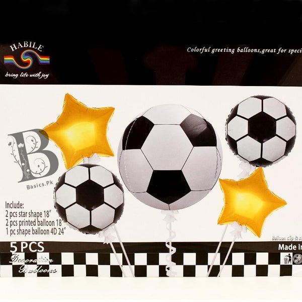 Balloons Foil Football Pack of 5 - Basics.Pk