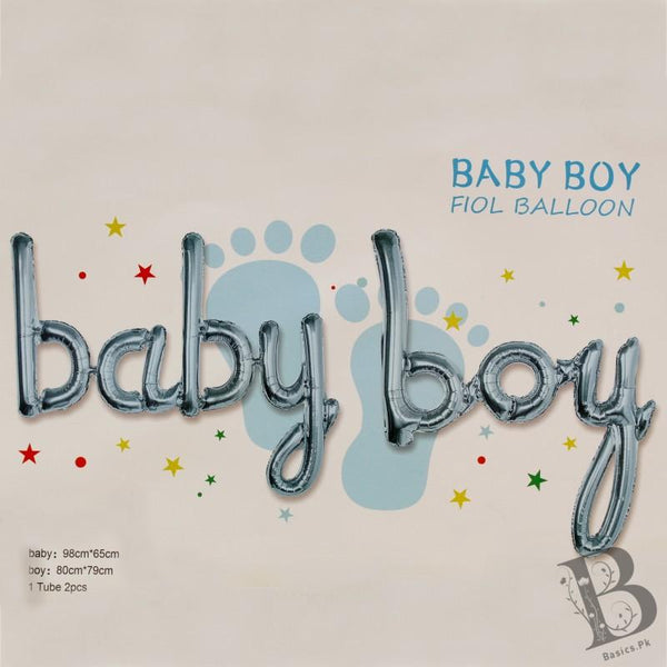 "Balloons Foil small letters ""baby boy"" Blue - Basics.Pk"