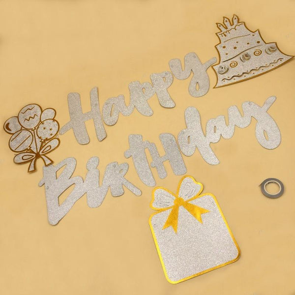 Banner HBD Glitter Silver with Silver Cake - Basics.Pk
