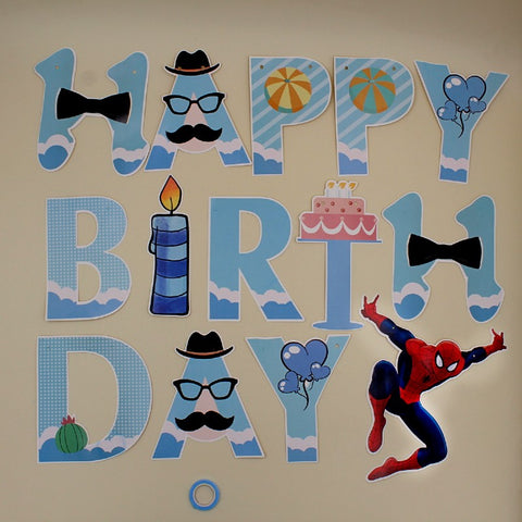 Banner Happy Birthday Spiderman