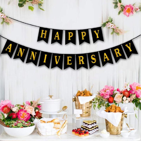 Banner Happy Anniversary Black - Basics.Pk