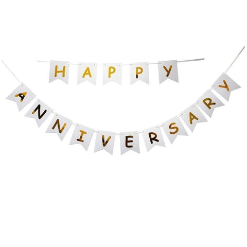 Banner Happy Anniversary White - Basics.Pk