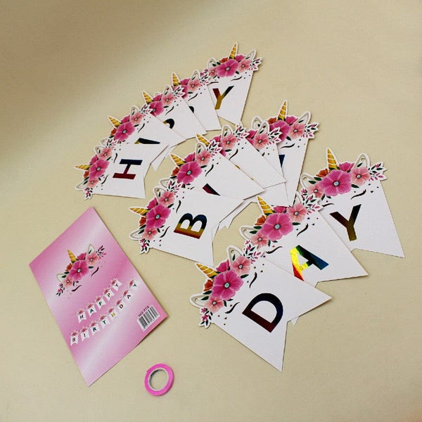 Banner Unicorn Rainbow Happy Birthday flowers - Basics.Pk