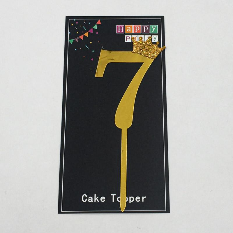Cake Topper Crown Golden Number 7 - Basics.Pk