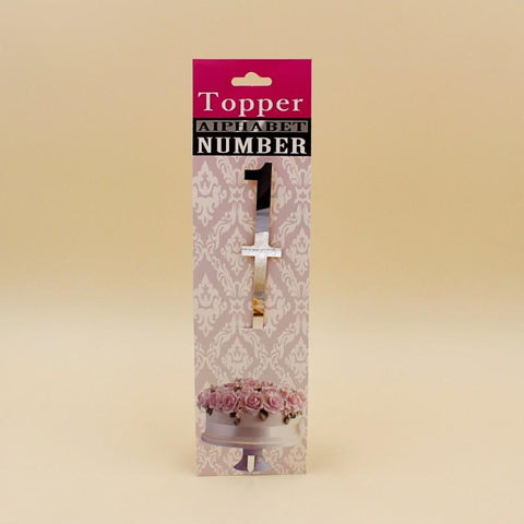 Cake Topper No 1 in Acrylic in Golden / Silver - Basics.Pk