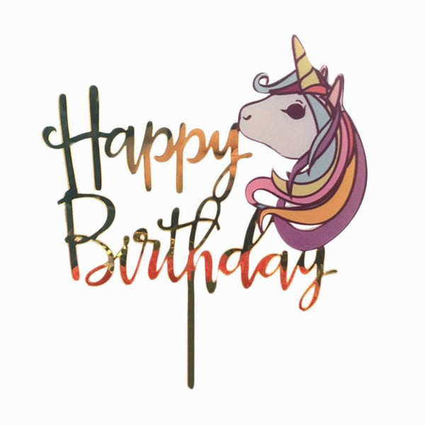 Cake Topper Happy Birthday Unicorn Head - Basics.Pk