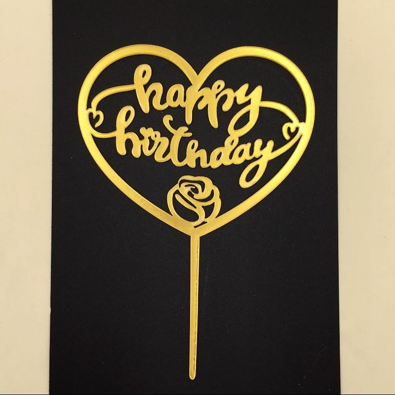 Cake Topper HBD Heart-With Flower Acrylic Golden - Basics.Pk