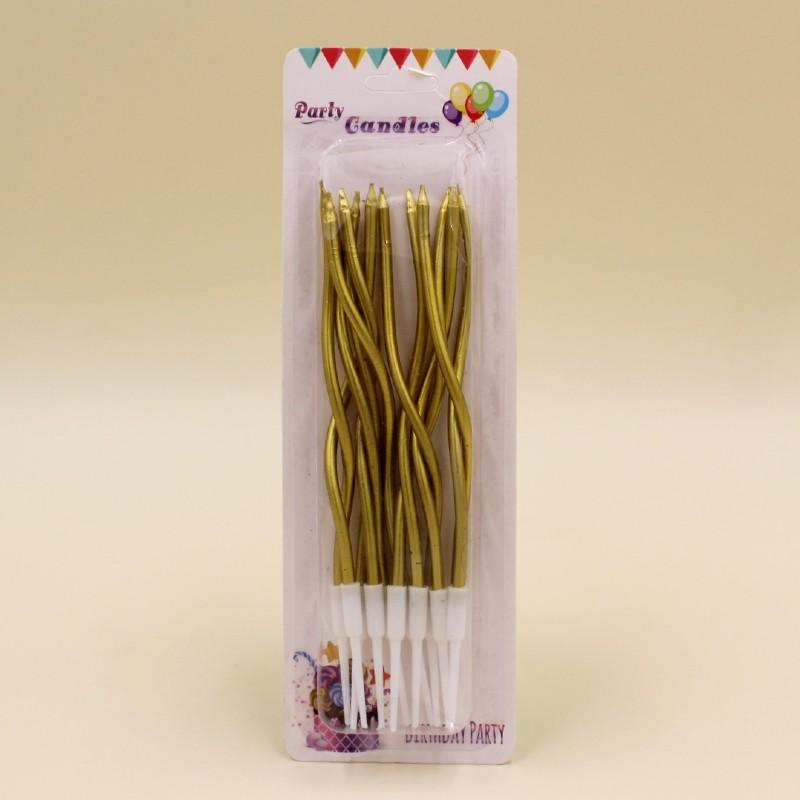 Candle Long Twisted Golden (12 Pack) - Basics.Pk