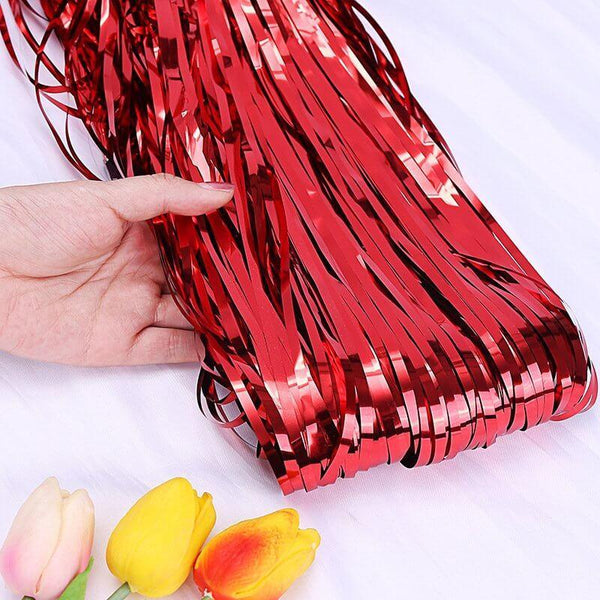 Curtains Foil Strips Red Shimmer