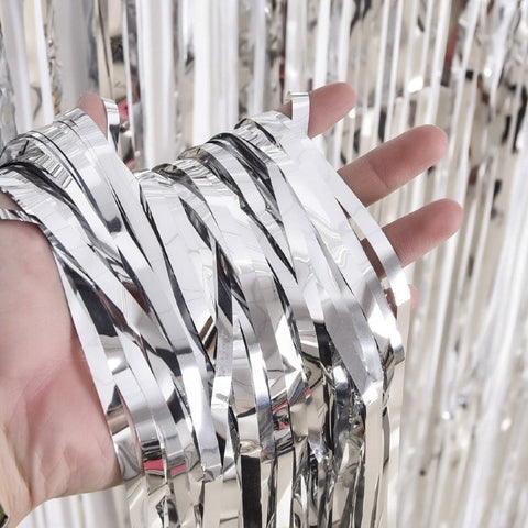 Curtains Foil Strips Shiny Silver Shimmer