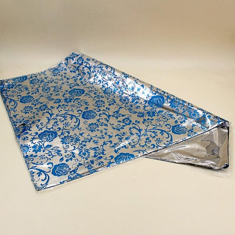 Gift Wrapping Sheets Blue Silver Flowers - Basics.Pk