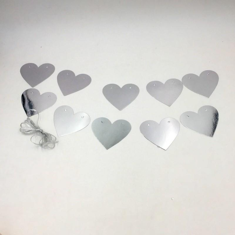 Decor Silver Hearts hangings - Basics.Pk