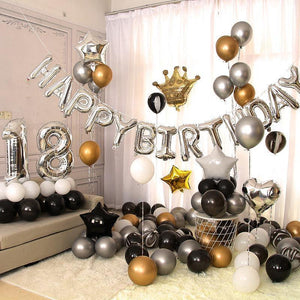 Balloons Bunch  Gold Crown&Digit (Happy Birthday balloons) Pack - Basics.Pk