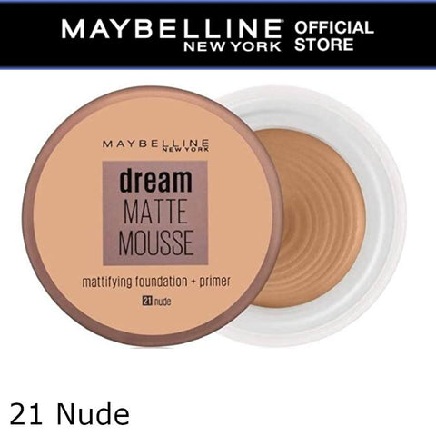 MAYBELLINE Dream Matte Mousse Mattifying Foundation + Primer (21 Nude)