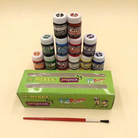 Poster Colors With Brush 12 Pack - Basics.Pk
