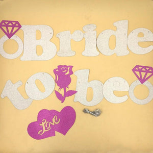 Banner Bride To Be Silver Glitter Pink Flower - Basics.Pk