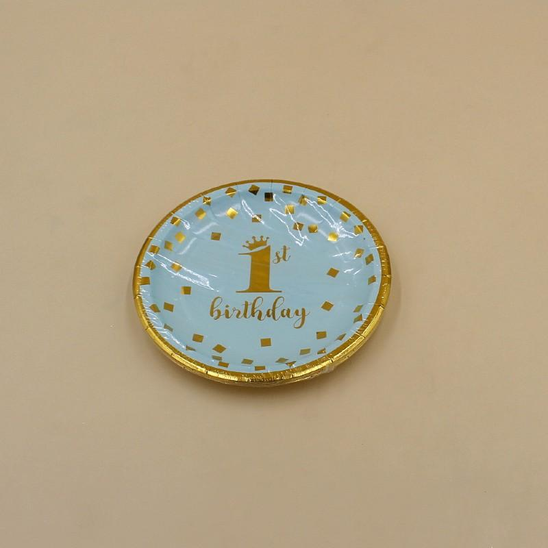 Plates small 1ST birthday Golden on Blue Pack Of 10 - Basics.Pk