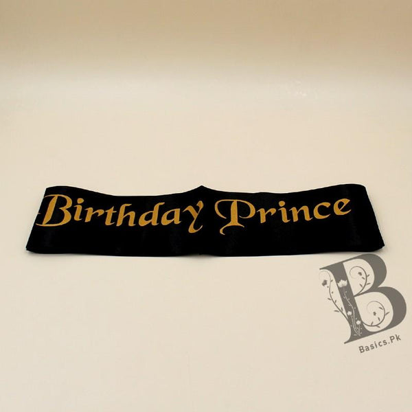 Sash Birthday Prince Black on Golden - Basics.Pk