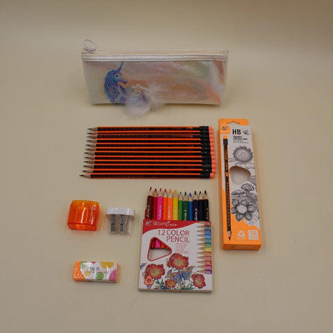 Stationery Unicorn Pouch+ Yalong Color Pencils + Yalong Lead Pencils