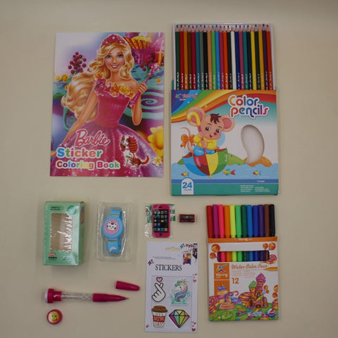 Stationery Set Barbie Coloring Book + Yalong Color Pencils + Yalong Color Markers