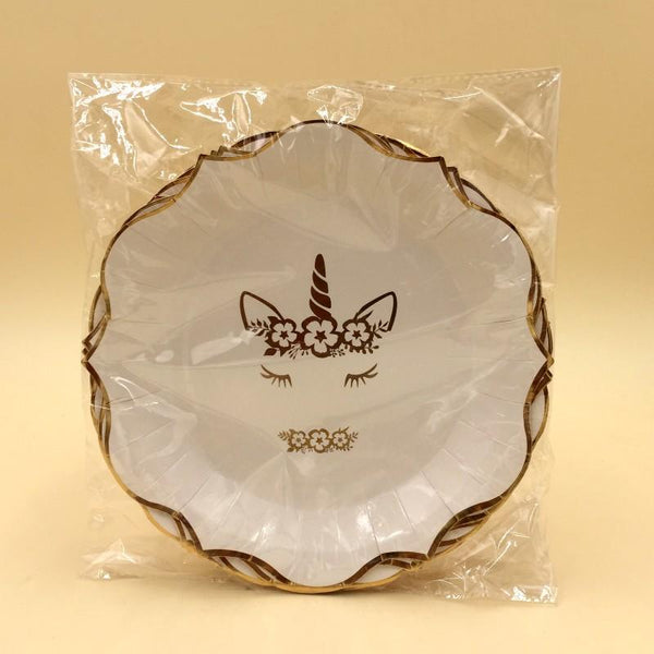 Unicorn Plates Large Pearl White Golden Design Pack Of 10 - Basics.Pk
