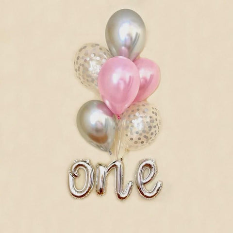Balloons Bunch  Number ONE silver - Basics.Pk