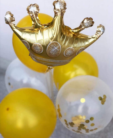 Balloons Confetti Crown Latex GOLDEN Pack of 9 - Basics.Pk