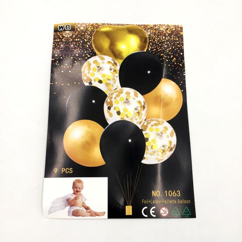 Balloons Confetti + Foil Black Pack of 9 - Basics.Pk