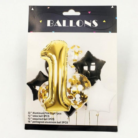 Balloons Golden 1st with Confetti Pack of 10 - Basics.Pk
