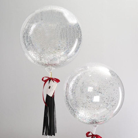 "of Balloons Glitter Plastic Single 24"" Silver - Basics.Pk"