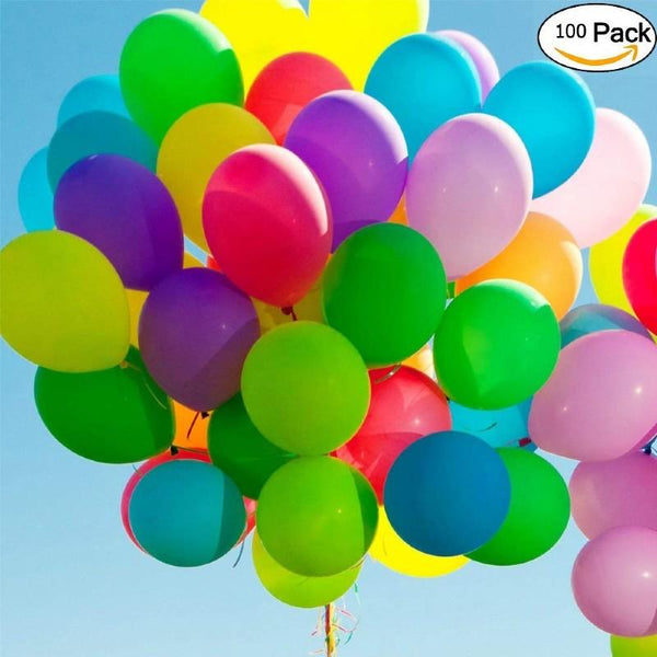 Balloons Plain Party Mix Large 12-18 inches - Good Quality (100pcs) - Basics.Pk