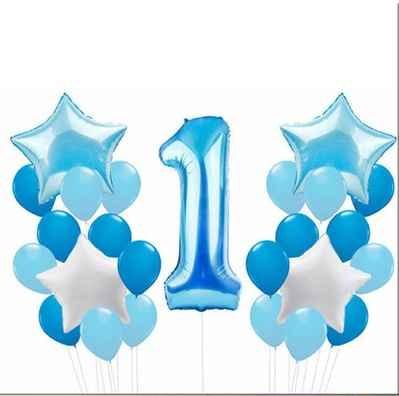 Balloons Foil & Confetti Blue 1st Boy Birthday (25 Pack) - Basics.Pk