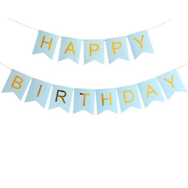 Banner Happy Birthday Blue (small) - Basics.Pk