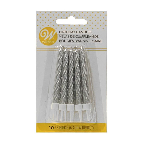 CANDLE Silver Small Twisted (10 Pack) - Basics.Pk