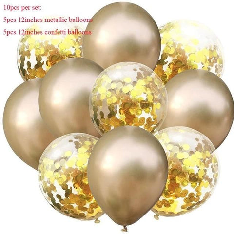 Balloons 5 Confetti + 5 metallic Golden (Pack of 10) - Basics.Pk