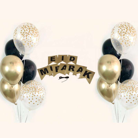 Eid Mubarak Balloons Bunch Metallic + Confetti + Latex with banner