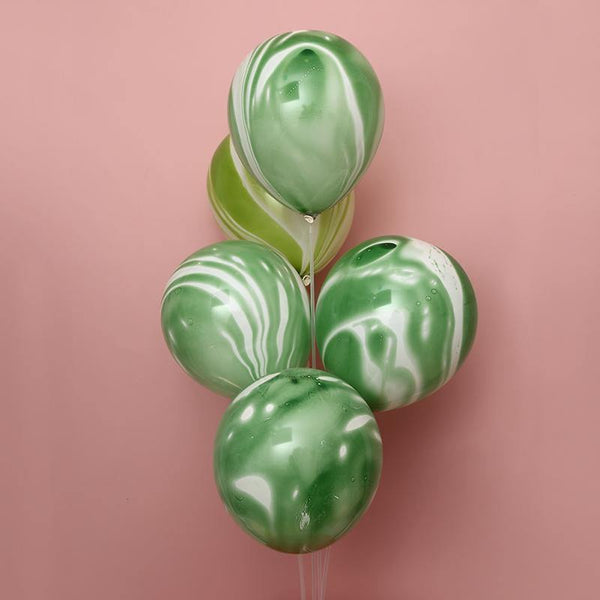 Balloons Marble Party Balloons Green (5 Pack) - Basics.Pk