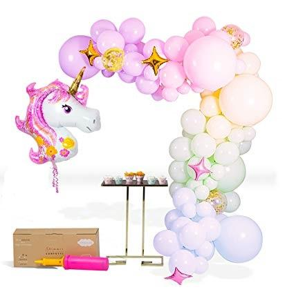 Balloons Foil Purple Unicorn Set (153 balloons) FREE PUMP - Basics.Pk