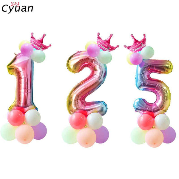 Balloons Foil 16 inches Single Number Multi Color - Basics.Pk