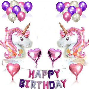 Balloons Foil Unicorn Set (40 balloons & Head Set )
