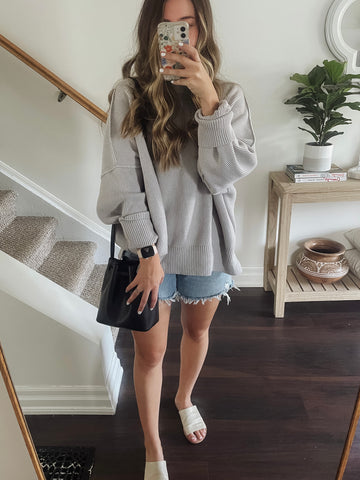 Easy street tunic with denim shorts and bucket bag