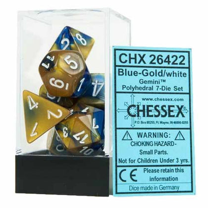Chessex - Gemini Polyhedral Blue-Gold w/white 7-Die Sets CHX26422