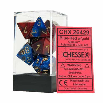 Chessex - Gemini Polyhedral Blue-Red w/gold 7-Die Sets CHX26429