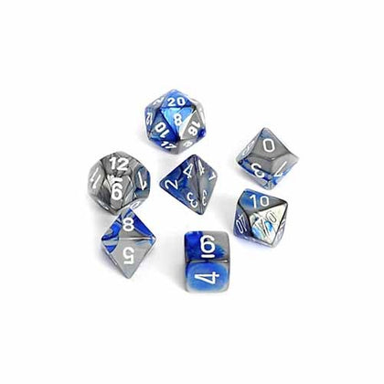 Chessex - Gemini Polyhedral Blue-Steel w/white 7-Die Sets CHX26423