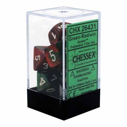Chessex - Gemini Polyhedral Green-Red w/white 7-Die Sets CHX26431