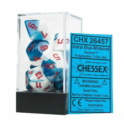 Chessex - Gemini Polyhedral Astral Blue-White w/red 7-Die Sets CHX26457