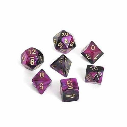 Chessex - Gemini Polyhedral Black-Purple w/gold 7-Die Sets CHX26440