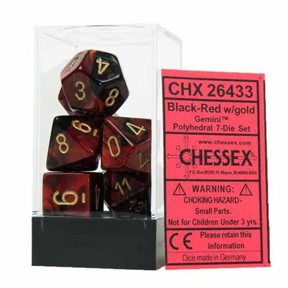Chessex - Gemini Polyhedral Black-Red w/gold 7-Die Sets CHX26433