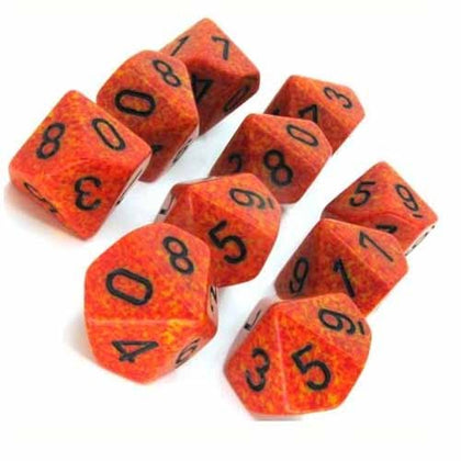 Chessex - Speckled Fire™ Polyhedral Ten d10 Sets
