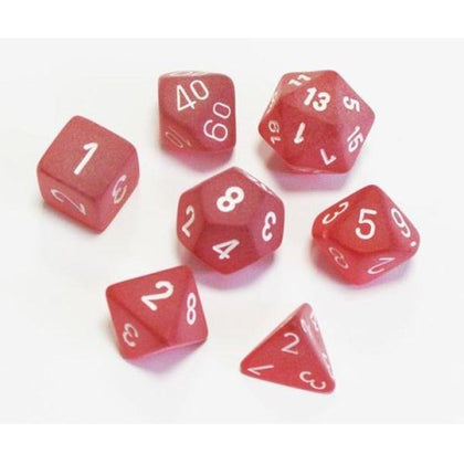 Frosted™  Red/white Polyhedral 7-Die Set (with Tens 10™ die) CHXLE427